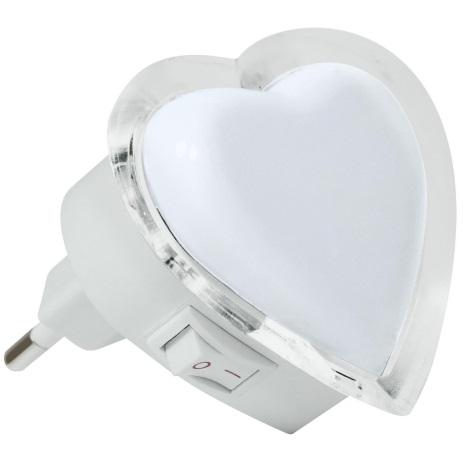 LED Noćno svjetlo za utičnicu 0,4W/230V bijelo srce