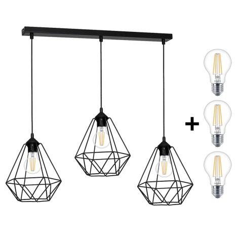 LED Viseća svjetiljka BASKET 3xE27/7W/230V