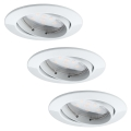 Paulmann 92765 - SET 3x LED Ugradna svjetiljka COIN 3xLED/6,8W/230V bijela