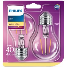 SET 2x LED Žarulja Philips E27/4,3W/230V