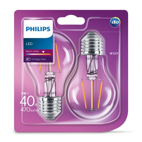 SET 2x LED Žarulja VINTAGE Philips E27/4W/230V 2700K