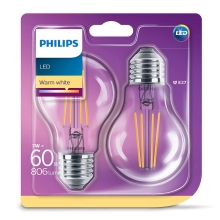 SET 2x LED Žarulja VINTAGE Philips E27/7W/230V 2700K