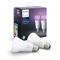 SET 2x LED Žarulja za prigušivanje Philips HUE WHITE AND COLOR AMBIANCE E27/9W/230V