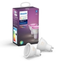 SET 2x LED Žarulja za prigušivanje Philips WHITE AND COLOR AMBIANCE GU10/5,7W/230V