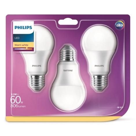 SET 3x LED žarulja Philips A60 E27/8,5W/230V