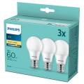 SET 3x LED Žarulja Philips A60 E27/8W/230V 2700K