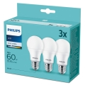 SET 3x LED Žarulja Philips A60 E27/9W/230V 4000K