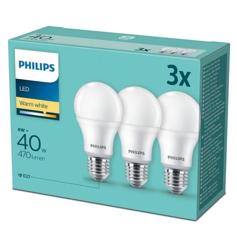 SET 3x LED Žarulja Philips E27/6W/230V