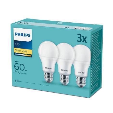 SET 3x LED Žarulja Philips E27/9W/230V 2700K