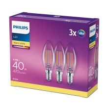 SET 3x LED žarulja VINTAGE Philips E14/4,3W/230V 2700K