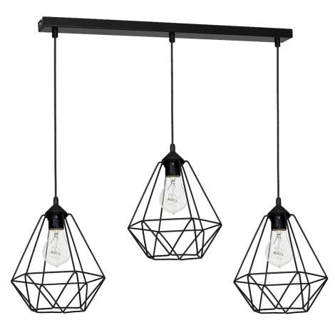 Viseća svjetiljka BASKET 3xE27/60W/230V crna