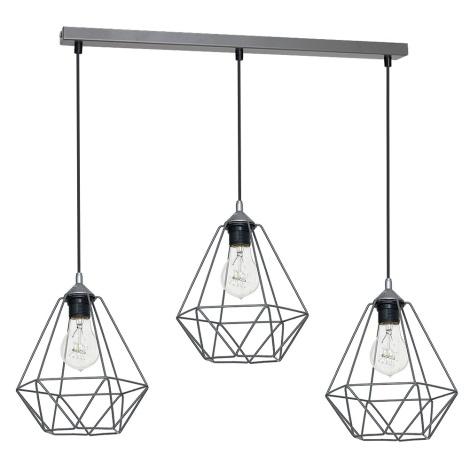 Viseća svjetiljka BASKET 3xE27/60W/230V siva
